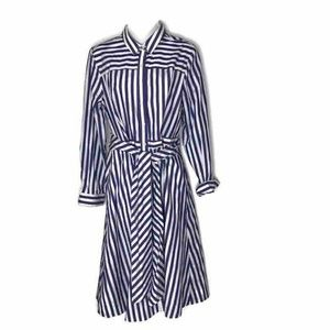 NEW J. Crew Shirt Dress Blue White Stripe Tie 12